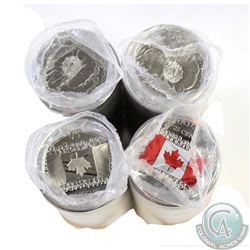 Lot of 4x 2015 Canada 25-cent Poppy and Flag Partially Coloured Rolls. You will receive 2 of each. 4