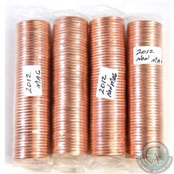 Estate Lot of 4x 2012 Canada Uncirculated 1-cent Rolls of 50pcs. You will receive 2x Magnetic and 2x