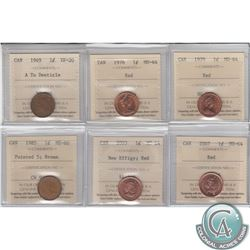 Estate Lot of 6x Canadian ICCS Certified 1-cent coins. You will receive: 1949 A to Denticle VF-20, 1