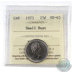Estate Lot: 1973 Canada 25-cent Small Bust ICCS Certified MS-65.