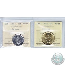 2015 Canada 25-cent & 2015 Canada Wedding $1 ICCS Certified MS-66. 2pcs