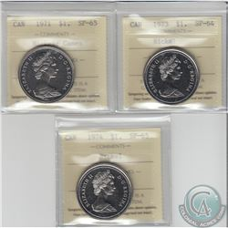 Lot of 3x Canadian ICCS Certified Nickel Dollars: 1971 Cameo SP-65, 1973 SP-64 & 1974 SP-65. 3pcs