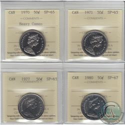 Lot of 4x Canada ICCS Certified 50-cent: 1970 Heavy Cameo SP-65, 1971 SP-65, 1977 SP-65 & 1980 SP-67