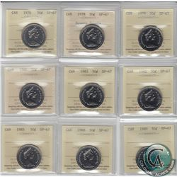 1976, 1978 Square, 1979, 1980, 1981, 1982, 1985, 1988, 1989 Canada 50-cents ICCS Certified SP-67. 9p