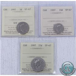 Lot of 3x 1997 Canada 5ct, 10ct & 25cts all ICCS Certified SP-67. 3pcs