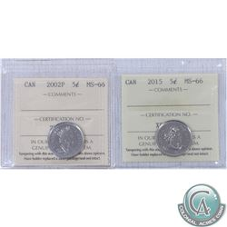 2002P & 2015 Canada 5ct ICCS Certified MS-66. 2pcs