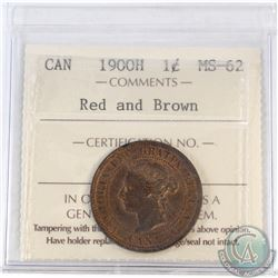 1-cent Canada 1900H ICCS Certified MS-62 Red and Brown