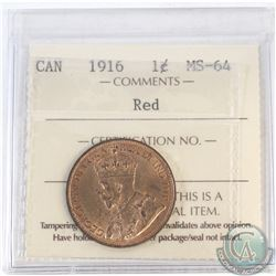 1-cent Canada 1916 ICCS Certified MS-64 Red
