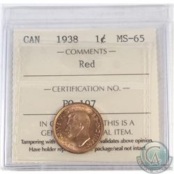 1-cent Canada 1938 ICCS Certified MS-65 Red