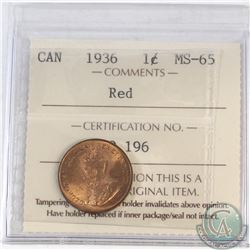 1-cent Canada 1936 ICCS Certified MS-65 Red