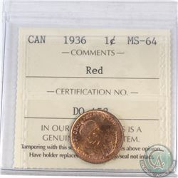 1-cent Canada 1936 ICCS Certified MS-64 Red