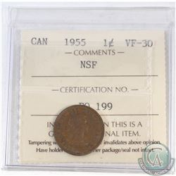 1-cent Canada 1955 NSF ICCS Certified VF-30