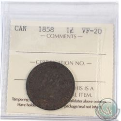 1-cent Canada 1858 ICCS Certified VF-20