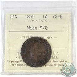 1-cent Canada 1859 Wide 9/8 ICCS Certified VG-8