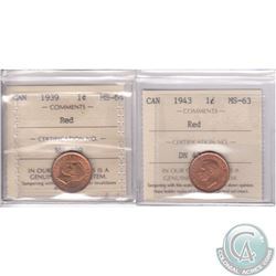Lot of 2x Canada 1-cent ICCS Certified: 1939 MS-64 Red & 1943 MS-63 Red. 2pcs