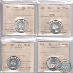 Lot of 4x Canada 25-cent ICCS Certified MS-64 Dated 1958, 1962 Cameo, 1964 & 1967. 4pcs