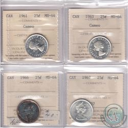 Lot of 4x Canada 25-cent ICCS Certified MS-64: 1961 Cameo, 1963 Cameo, 1966 & 1967. 4pcs