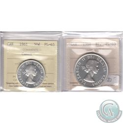 Lot of 2x 1961 Canada ICCS Certified PL-65 Coins: 50-cent Cameo & Silver $1. 2pcs