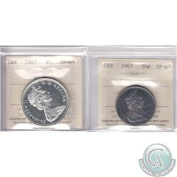 Lot of 2x 1967 Canada ICCS Certified Cameo Coins: 50-cent SP-67 & Silver $1 SP-65. 2pcs