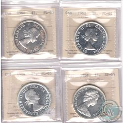 Lot of 4x Canada ICCS Certified Silver Dollars: 1960 PL-65, 1963 PL-64, 1964 PL-65 Cameo & 1967 SP-6