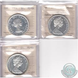 Lot of 3x Canada ICCS Certified Silver Dollars: 1964 PL-64, 1965 Small Beads Pointed 5 PL-65 Cameo &