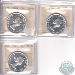 Lot of 3x Canada ICCS Certified PL-65 Silver Dollars: 1960 Cameo, 1962 & 1963 Cameo. 3pcs