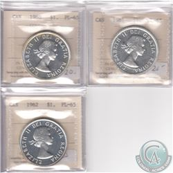 Lot of 3x Canada ICCS Certified PL-65 Silver Dollars: 1960, 1961 & 1962. 3pcs