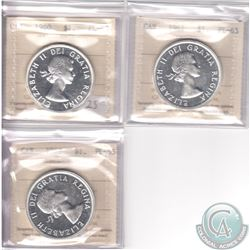 Lot of 3x Canada ICCS Certified PL-65 Silver Dollars: 1960 Cameo, 1961 & 1962. 3pcs