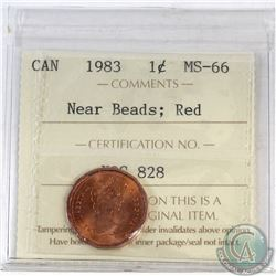1-cent Canada 1983 Near Beads ICCS Certified MS-66 Red