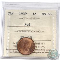 1-cent Canada 1939 ICCS Certified MS-65 Red