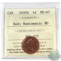 1-cent Canada 2000W ICCS Certified MS-67 Red Numismatic BU