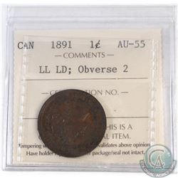 1-cent Canada 1891 LLLD Obverse 2 ICCS Certified AU-55