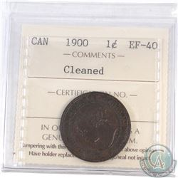 1-cent Canada 1900 ICCS Certified EF-40 (Cleaned)