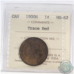 1-cent Canada 1900H ICCS Certified MS-62 Trace Red