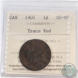 1-cent Canada 1901 ICCS Certified MS-60 Trace Red