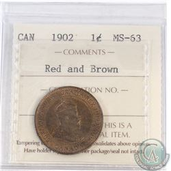 1-cent Canada 1902 ICCS Certified MS-63 Red and Brown