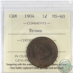 1-cent Canada 1904 ICCS Certified MS-60 Brown
