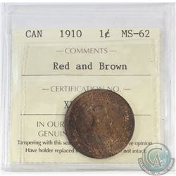 1-cent Canada 1910 ICCS Certified MS-62 Red and Brown