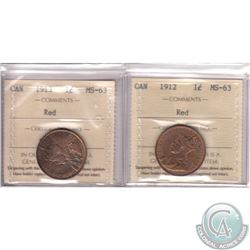 1-cent Canada 1912 & 1913 ICCS Certified MS-63 Red. 2pcs