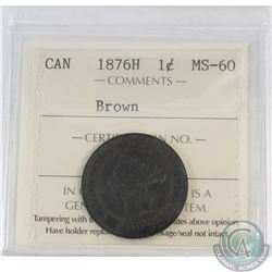 1-cent Canada 1876H ICCS Certified MS-60 Brown