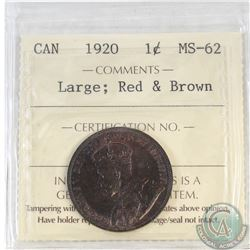 1-cent Canada 1920 Large ICCS Certified MS-62 Red and Brown