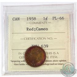 1-cent Canada 1958 ICCS Certified PL-66 Red Cameo