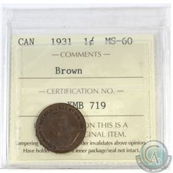 1-cent Canada 1931 ICCS Certified MS-60 Brown