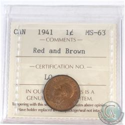 1-cent Canada 1941 ICCS Certified MS-63 Red and Brown