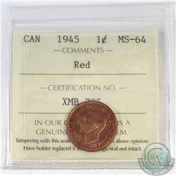 1-cent Canada 1945 ICCS Certified MS-64 Red