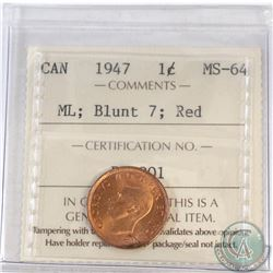 1-cent Canada 1947 Maple Leaf Blunt 7 ICCS Certified MS-64 Red