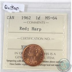 1-cent Canada 1962 Guitar ICCS Certified MS-64