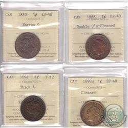 Lot of 4x Canada 1-cent ICCS Certified Coins: 1859 Narrow 9 AU-50, 1888 Double 8's EF-40 (Cleaned),