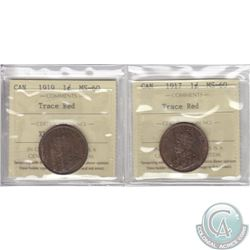 Lot of 2x Canada 1-cent ICCS Certified MS-60 Trace Red Dated 1917 & 1919. 2pcs