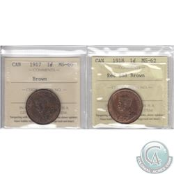 Lot of 2x Canada 1-cent ICCS Certified Coins: 1917 MS-60 Brown & 1918 MS-62 Red and Brown. 2pcs